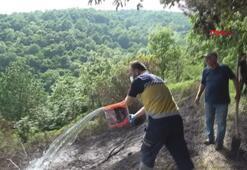 Sağlık ekibinden dumandan etkilenenlere ve yangına müdahale