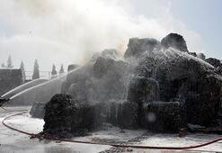 Kahramanmaraşta koru dolu anlar Kağıt fabrikası alev alev yandı