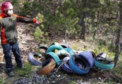 Konyada ormana atılan onlarca otomobil lastiği tepki çekti
