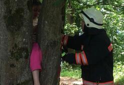 Bacağı ağaca sıkışan minik Ravzanuru itfaiye kurtardı