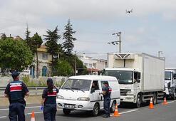 İstanbul-Tekirdağ karayolunda drone ile denetim