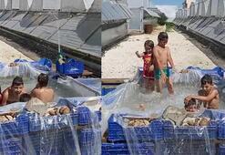 Çocukların domates kasasında havuz keyfi