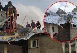Van'daki fırtına evlerin çatılarını uçurdu