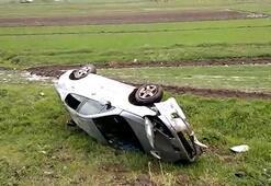 Dolu yağışıyla kayganlaşan yolda kaza 5 bekçi yaralı