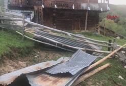 Artvinde rüzgar çatıları uçurdu, ahır ve samanlıklar hasar gördü
