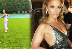 Yağmurda dans eden Jennifer Lopez ardından havuza atladı