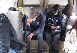 Kartalda fazla yolcu taşıyan minibüsler cezadan kaçamadı