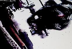 Kaldırıma çıkan otomobil, önce anne ve çocuğuna ardından işyerine çarptı