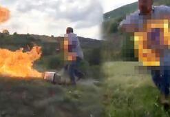 Son dakika... Kendini ateşe verip koşmaya başladı