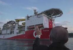 Fahrettin Altun paylaştı Cumhurbaşkanı Erdoğan, Fatih sondaj gemisini uğurladı