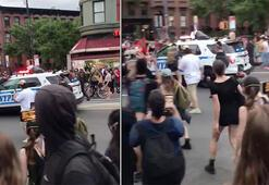 New York polisi protestocuların üzerine araç sürdü