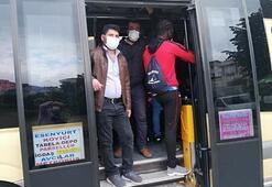 Esenyurtta şok görüntü 14 kişilik minibüste 30 kişi çıktı