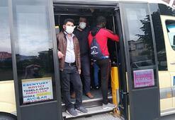 İstanbulda sosyal mesafesiz yolculuk... 14 kişilik minibüse 30 kişi bindi
