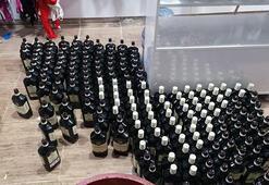 Giyim mağazasında 250 şişe sahte içki ele geçirildi