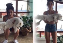 Nesrin Cavadzade kedisiyle spor yaptı