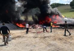 Zift dolu tankta çıkan yangın söndürüldü