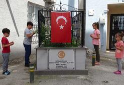 Sokak ortasında şehit mezarı