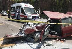 Zonguldakta korkunç kaza 20 metreden uçtu