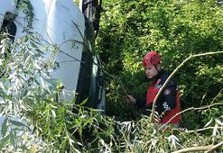 Un yüklü TIR devrildi, sürücü yaralandı