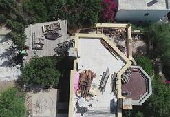 Can Dündarın villasındaki kaçak bölümlerin yıkımında 6ncı gün