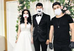 Gelin ve damatlar için maskeli tasarım