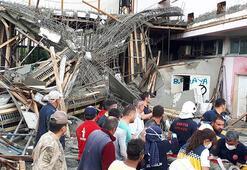 Fabrika inşaatında göçük 4 işçi kurtarıldı