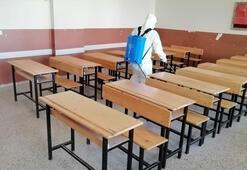 Kurtalanda sınav öncesi okullar dezenfekte edildi