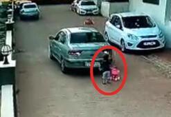 Korkunç görüntü kamerada 3 yaşındaki çocuğu altına aldı...