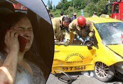 Kağıthanede feci kaza Zincirleme kazada taksi bariyerlere çarptı