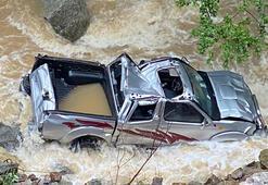 Dereye uçan kamyonetin kayıp sürücüsünün cansız bedeni bulundu