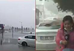 Son dakika haberler: İstanbulda dolu yağdı Muhabir kanlar içinde kaldı