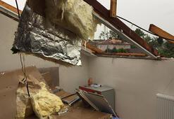 Çatalcada hortum çatıları uçurdu, ağaçları devirdi