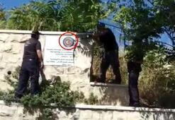 İsrail polisi Kudüste Türk bayraklı tabelayı balyozla kırarak söktü