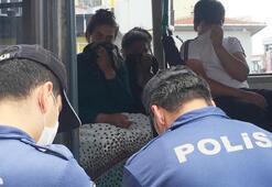 Minibüse maskesiz bindiler, polisi görünce yüzlerini gizlediler