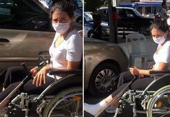 Sınav öncesi koltuk değnekleriyle zorlanan Kübraya tekerlekli sandalye