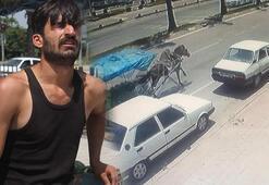 Kaçan at otomobile çarptı, polisi alarma geçirdi