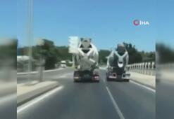 Otoyolda beton mikseri yarışı