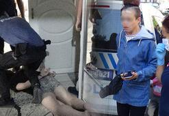 Kütahyada eşi tarafından boğularak öldürülmek istenen kadını polis kurtardı