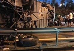Son dakika haberi: TEMde yolcu otobüsü devrildi 1 kişi hayatını kaybetti