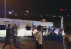 Gebzede yolcu otobüsü devrildi