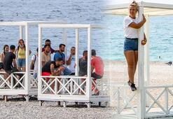 Antalyanın dünyaca ünlü Konyaaltı sahilinde loca gerginliği