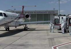Koronavirüs hastalarını getiren ambulans uçak Atatürk Havalimanına indi