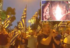 Büyükelçilik önünde Türk bayrağı yaktılar