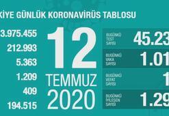 Türkiyenin günlük corona virüs tablosu (12 Temmuz 2020)