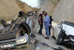 Erzincanda feci kaza Ters dönen otomobilden kurtarıldılar