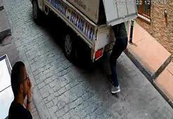 Seyir halindeki kamyonetten matkap çaldı