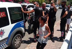 Eşi gözaltına alınan kadın çılgına döndü