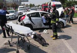 Otomobil ile taksi çarpıştı: 1 ölü, 5 yaralı