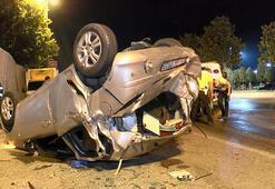 Maltepede otomobil takla attı: 3 yaralı