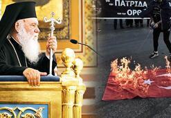 Son dakika...Bayrak rezaleti sonrası Yunan Kilisesi liderinden küstah sözler